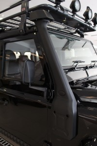 Raised air intake or snorkel enables the Land Rover Defender Limited Edition to ford through water