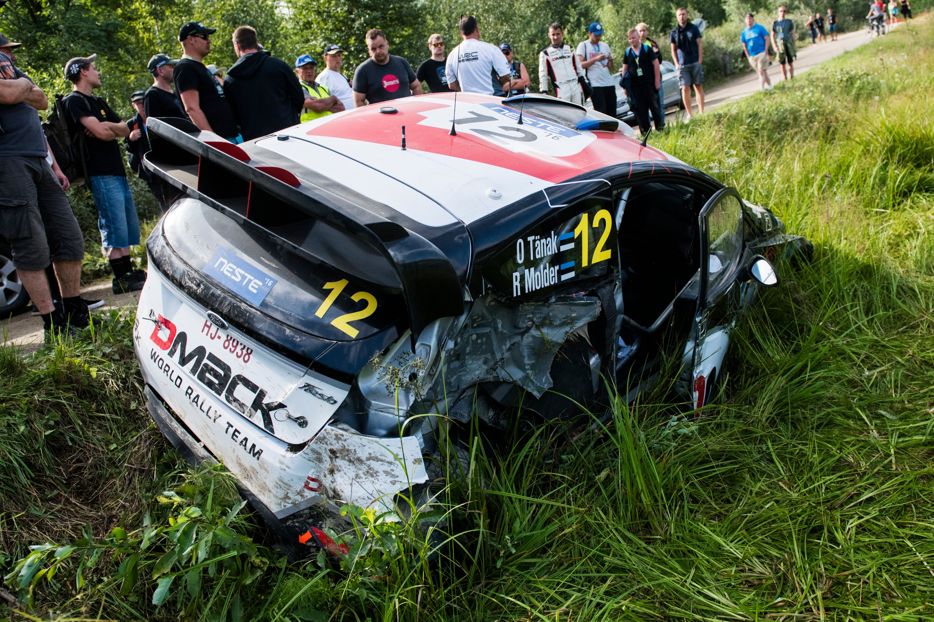 Ott tanak est car after crash during fia world rally championship 2016 finland in