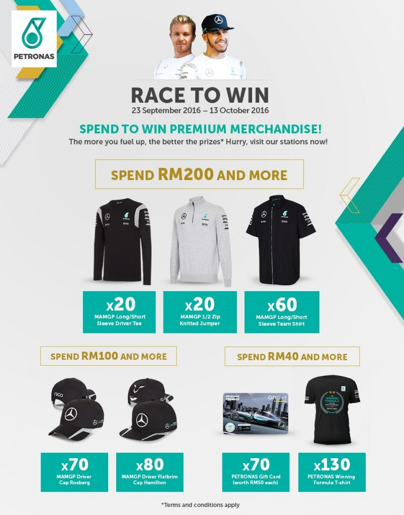 petronas 39 race to win 39 campaign offers f1 team merchandise. Black Bedroom Furniture Sets. Home Design Ideas