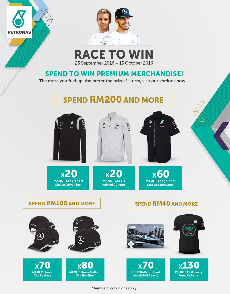 Petronas 39 race to win 39 campaign offers f1 team merchandise for Mercedes benz f1 shop