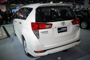 Toyota Innova Crysta White Rear View 33rd Thailand International Motor Expo 2016