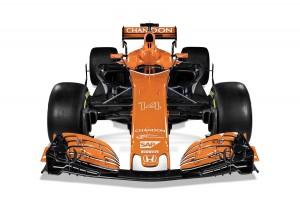 2017 McLaren-Honda MCL32 in Tarocco Orange livery front view