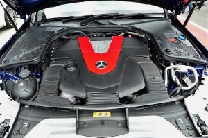 Mercedes-AMG C 43 engine compartment - all covered up.