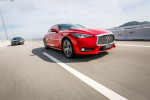 Infiniti Q60 Dynamic Sunstone Red Driving, Malaysia 2017