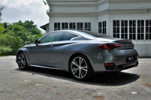 Infiniti Q60 Graphite Shadow Rear View, Malaysia Media Drive 2017 Ipoh