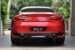 Infiniti Q60 Rear Red, Malaysia Media Drive 2017 Ipoh