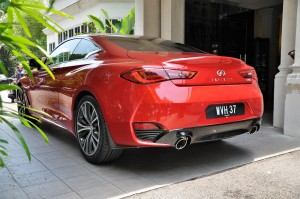 Infiniti Q60 Rear View Red, Malaysia Media Drive 2017