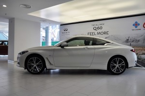 Infiniti Q60 Side View Majestic White, Malaysia Launch 2017