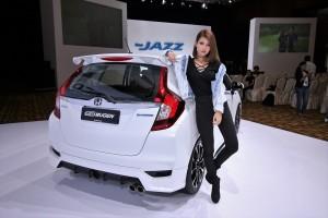 Honda Jazz Hybrid Mugen Kit Rear View With Model, Malaysia 2017