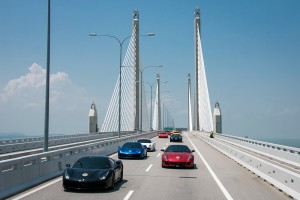 Ferrari Grand Rally from KL-Penang - Penang Bridge, Malaysia 70th Anniversary