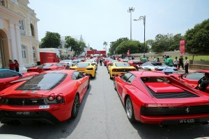 Ferrari Convoy at Penang City Hall - Ferrari 70th Anniversary Celebration, Malaysia