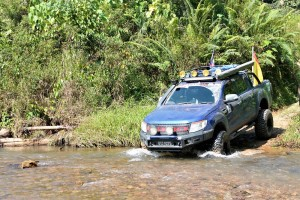 Ford Ranger Owners Club Borneo Region Ulu Engkuah 4x4 Expedition, Sarawak 2017 River Crossing