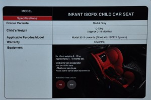 Perodua Gear Up Infant ISOFIX Seat Details 2017
