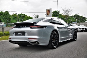 Porsche Panamera Rear Three Quarter View, Malaysia 2017