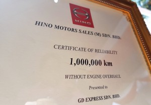 Hino Motors Sales Malaysia Certificate Of Reliability, 1,000,000 KM Mileage, GD Express