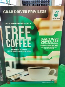 Petronas Station, Grab Driver Benefit, Coffee