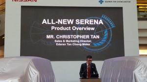 Chris Tan presenting the New Serena S-Hybrid