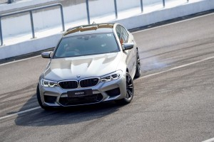 The new BMW M5 being put sideways at SIC