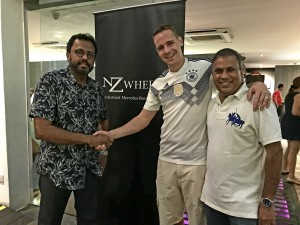 L-R: Dato' Samson Anand George, Group CEO, Automotive Division, Naza Corporation Holdings with Mark Raine, Vice President of Sales and Marketing, Mercedes-Benz Malaysia; and Ramasamy Devaraju, Deputy Group CEO, Automotive Group, Naza Corporation Holdings at the party.