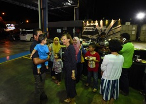 Scania Southeast Asia Managing Director Marie Sjödin Enström mingling with some of the Scania staff family members during the Family Day