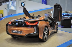 BMW i8 Roadster, Gullwing Doors Open, Malaysia 2018