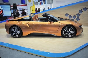 BMW i8 Roadster, Roof Down, Side View, CEPSI 2018 Malaysia