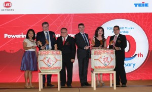 L-R: Jaclyn Loy, Chief Operating Officer, Tan Chong Industrial Equipment Sdn Bhd; Jacques Michel, President, Volvo Group Trucks Asia and JVs Sales; Wong King Yoon, Director, Tan Chong Industrial Equipment Sdn Bhd; Filip Van den Heede, Managing Director Hub Malaysia, UD Trucks; Dato' Rosie Tan, Group Chief Executive Officer, Tan Chong Motor Holdings Berhad and Eddy Chan, Director, Sales and Marketing, UD Trucks Malaysia, officiating the celebration with Kagami Biraki, a traditional Japanese ceremony