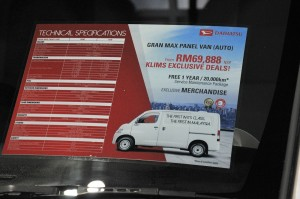 Daihatsu Gran Max Panel Van_Spec Sheet_KLIMS 2018_Malaysia