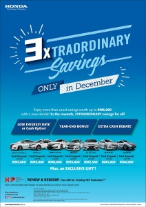 02 Honda Malaysia 3XTRAORDINARY Savings from 1 December 2018 to 31 December 2018