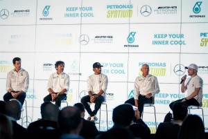 L-R: Mercedes-AMG PETRONAS Team Principal, Toto Wolff, PLI Managing Director and Group Chief Executive Officer, Guiseppe D'Arrigo, Mercedes-AMG PETRONAS Motorsport driver Lewis Hamilton, PLI Group Chief Technology Officer, Eric Holthusen, and Mercedes-AMG PETRONAS Motorsport driver, Valtteri Bottas.