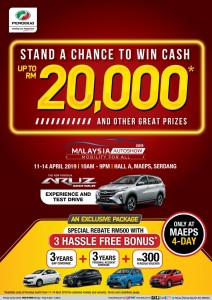 Perodua Malaysia Autoshow 2019 flyer - cash prizes up to RM20,000
