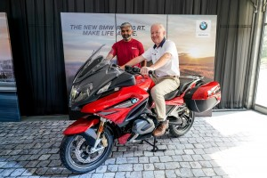 Owen Riley with the R 1250 RT, and Sashi Ambi, Head of Corporate Communications, BMW Group Malaysia.