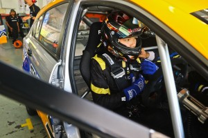 Mitchell Cheah in his Proton Suprima S getting ready go on track at the Malaysia Championship Series 2019