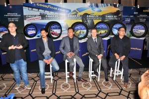 Seated L-R:  Alex Yoong, Founder & Director of Axle Motorsport and Professional Racing Driver; Alex Ng, Managing Director of Goodyear Malaysia; Jenner Powell, Product Director of Goodyear APAC; and Benjamin Chong, Product Manager of Goodyear Malaysia.