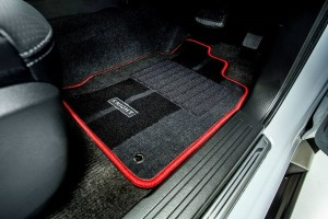 The Mitsubishi Triton Knight comes with Red Stitching Carpet Mats and Scuff Plates