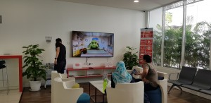 Customer lounge, with large TV